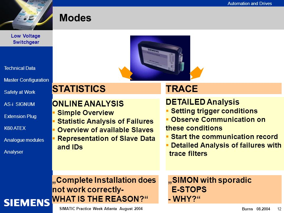 Automation and Drives Safety at Work AS-i SIGNUM Extension Plug Low Voltage Switchgear Burns 08.2004 12 Master Configuration K60 ATEX Analogue modules Analyser Technical Data SIMATIC Practice Week Atlanta August 2004 Modes TRACESTATISTICS ONLINE ANALYSIS Simple Overview Statistic Analysis of Failures Overview of available Slaves Representation of Slave Data and IDs DETAILED Analysis Setting trigger conditions Observe Communication on these conditions Start the communication record Detailed Analysis of failures with trace filters Complete Installation does not work correctly- WHAT IS THE REASON.