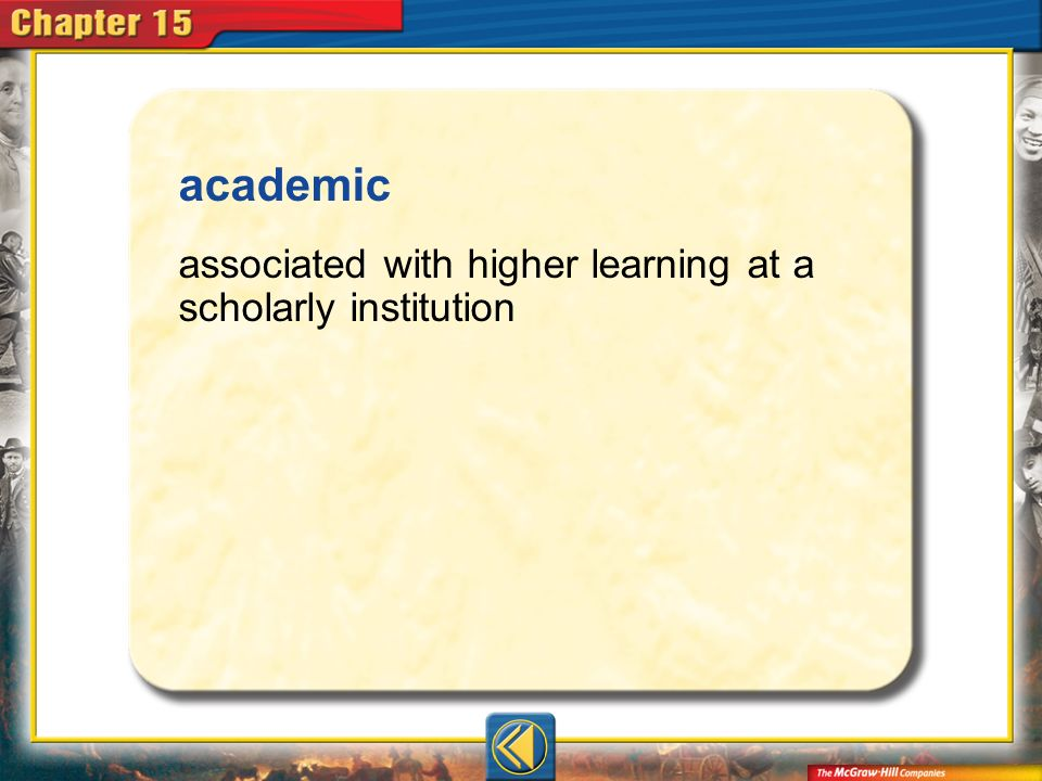 Vocab17 academic associated with higher learning at a scholarly institution