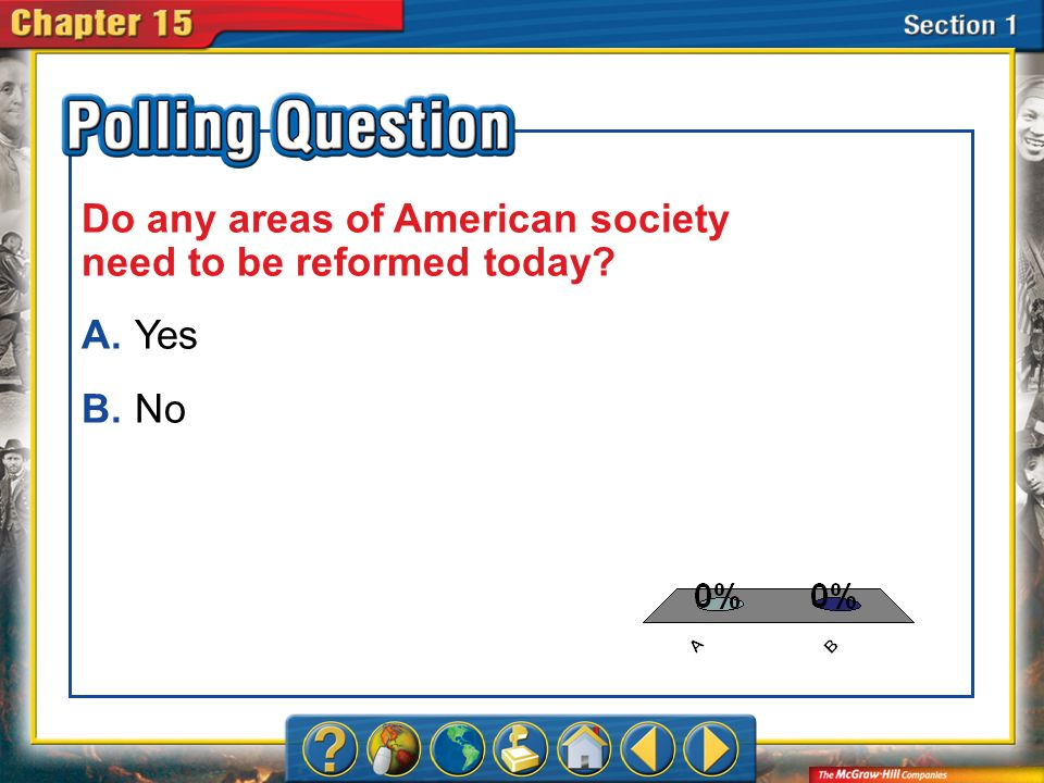 A.A B.B Section 1-Polling Question Do any areas of American society need to be reformed today? A.Yes B.No