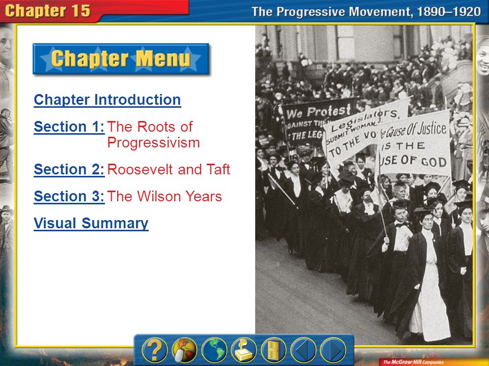 Chapter Menu Chapter Introduction Section 1:Section 1:The Roots of Progressivism Section 2:Section 2:Roosevelt and Taft Section 3:Section 3:The Wilson