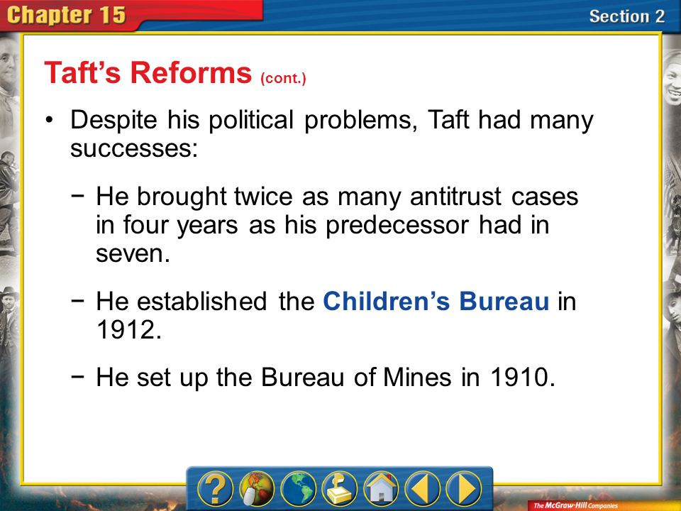 Section 2 Despite his political problems, Taft had many successes: Tafts Reforms (cont.) He brought twice as many antitrust cases in four years as his