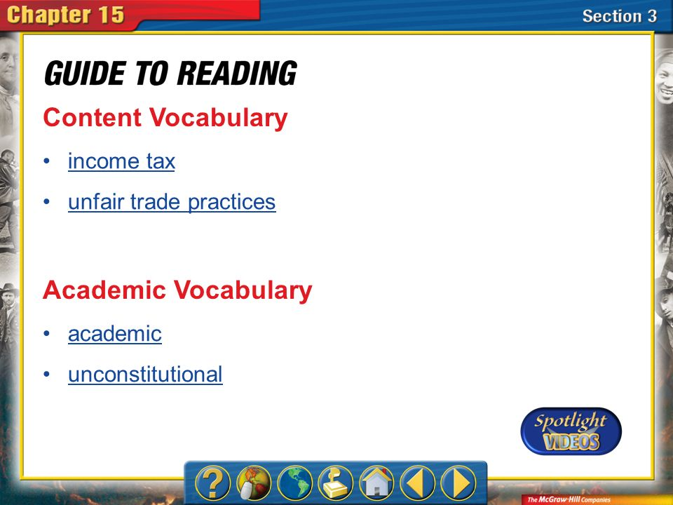 Section 3-Key Terms Content Vocabulary income tax unfair trade practices Academic Vocabulary academic unconstitutional