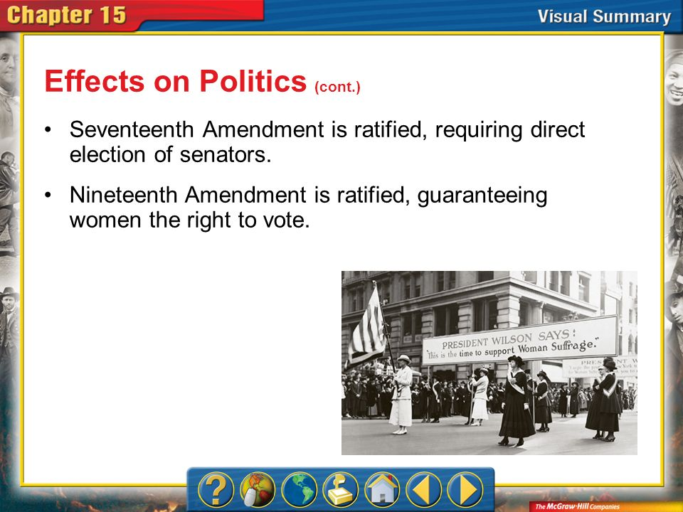VS 5 Effects on Politics (cont.) Seventeenth Amendment is ratified, requiring direct election of senators. Nineteenth Amendment is ratified, guarantee