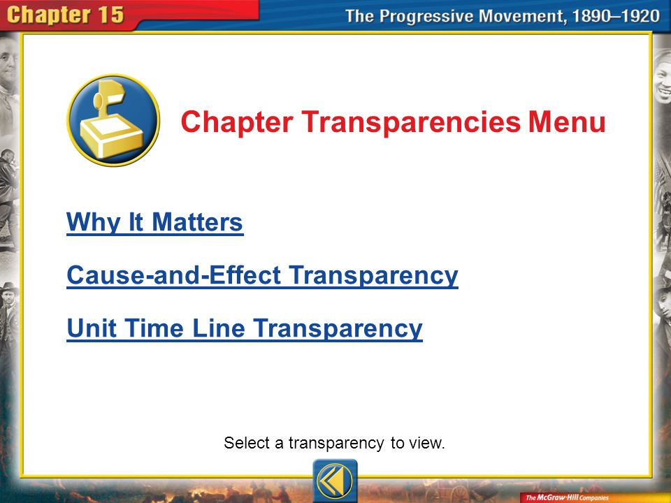 Chapter Trans Menu Chapter Transparencies Menu Why It Matters Cause-and-Effect Transparency Unit Time Line Transparency Select a transparency to view.
