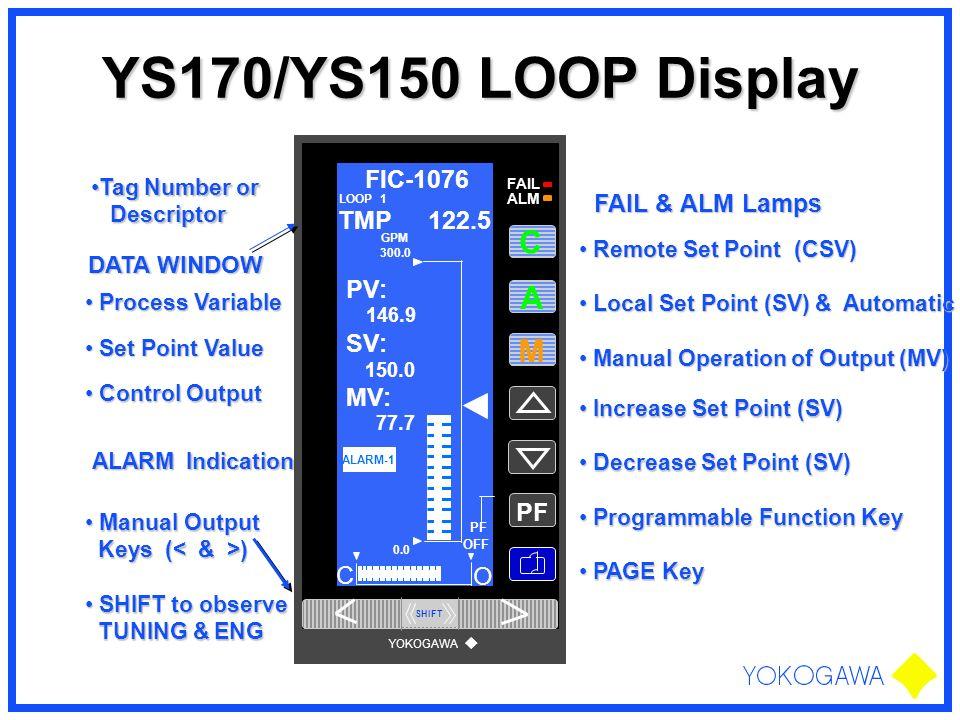 YS170/YS150 LOOP Display Tag Number orTag Number or Descriptor Descriptor Remote Set Point (CSV) Remote Set Point (CSV) Local Set Point (SV) & Automat