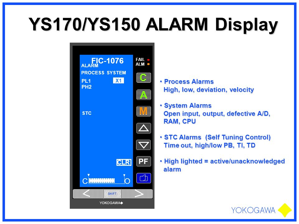 YS170/YS150 ALARM Display Process Alarms Process Alarms High, low, deviation, velocity High, low, deviation, velocity System Alarms System Alarms Open