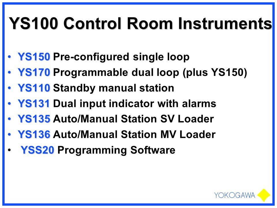 YS100 Control Room Instruments YS150YS150 Pre-configured single loop YS170YS170 Programmable dual loop (plus YS150) YS110YS110 Standby manual station