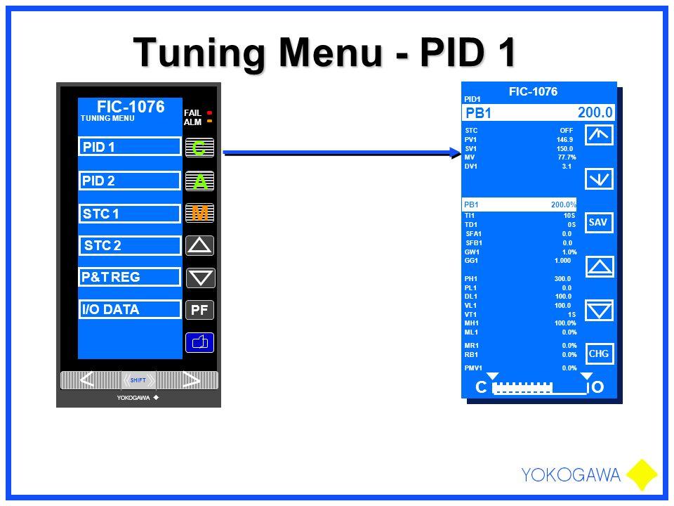Tuning Menu - PID 1 PF M A FAIL ALM FIC-1076 C TUNING MENU PID 1 PID 2 STC 1 STC 2 P&T REG I/O DATA SHIFT YOKOGAWA FIC-1076 PID1 STC OFF PV1 146.9 SV1