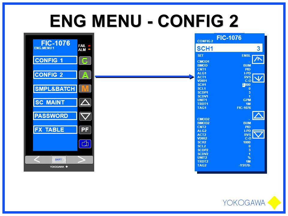 ENG MENU - CONFIG 2 PF M A FAIL ALM FIC-1076 C ENG.MENU 1 CONFIG 1 CONFIG 2 SMPL&BATCH SC MAINT PASSWORD FX TABLE YOKOGAWA SHIFT FIC-1076 SET ENBL 3 P