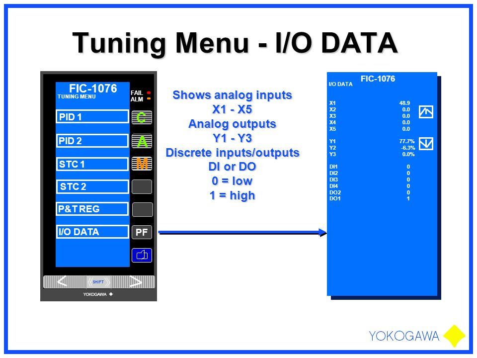 Tuning Menu - I/O DATA PF M A FAIL ALM FIC-1076 C TUNING MENU PID 1 PID 2 STC 1 STC 2 P&T REG I/O DATA SHIFT YOKOGAWA FIC-1076 I/O DATA X1 48.9 X2 0.0