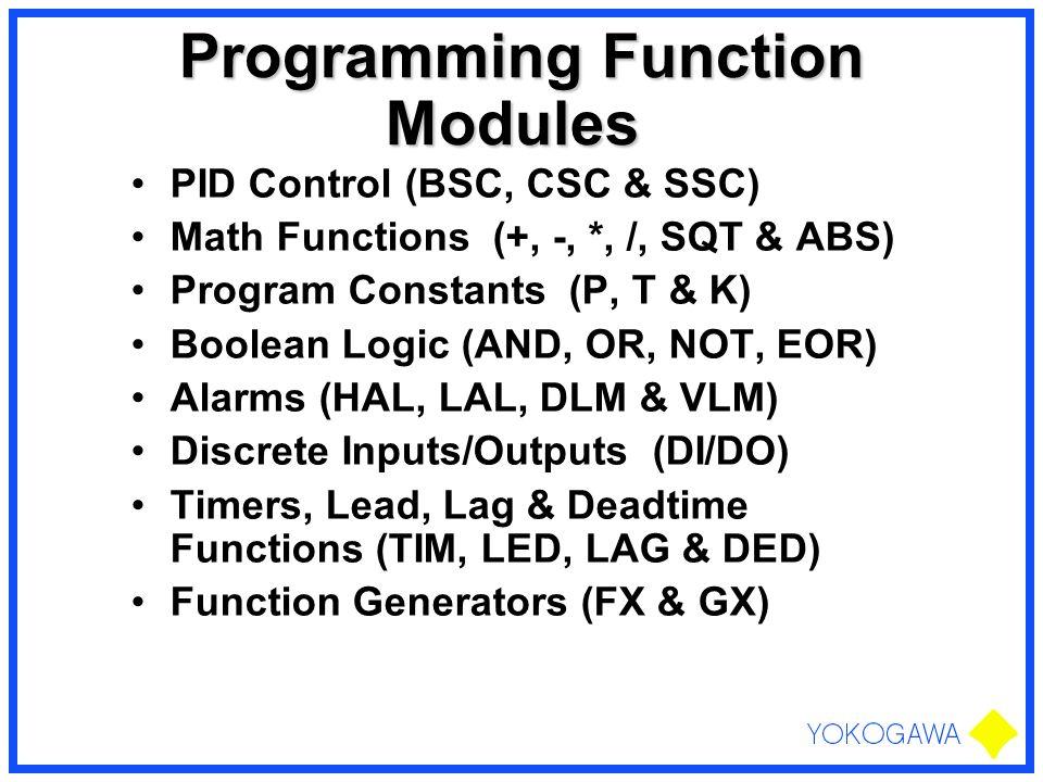 Programming Function Modules Programming Function Modules PID Control (BSC, CSC & SSC) Math Functions (+, -, *, /, SQT & ABS) Program Constants (P, T