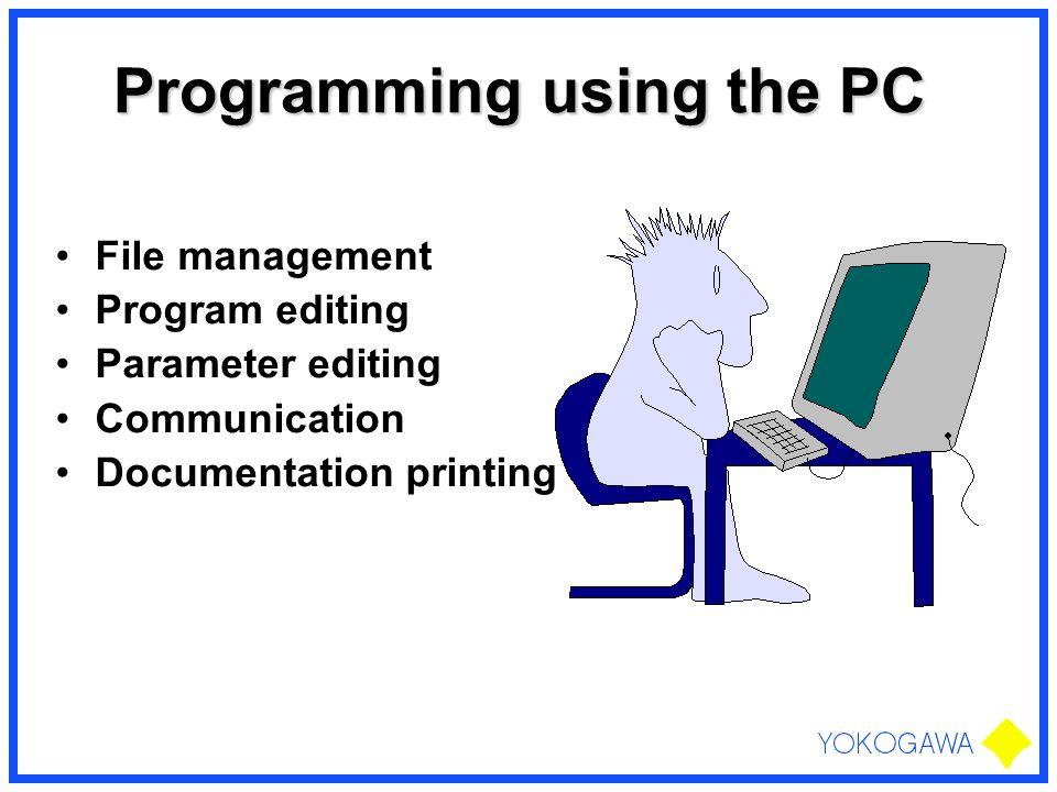 Programming using the PC File management Program editing Parameter editing Communication Documentation printing