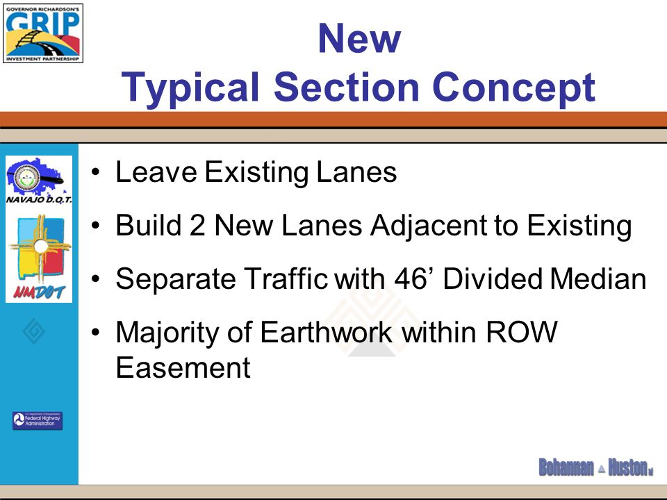 New Typical Section Concept Leave Existing Lanes Build 2 New Lanes Adjacent to Existing Separate Traffic with 46 Divided Median Majority of Earthwork within ROW Easement