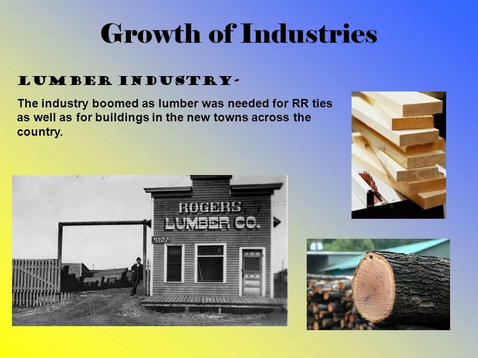 Growth of Industries Lumber industry- The industry boomed as lumber was needed for RR ties as well as for buildings in the new towns across the countr