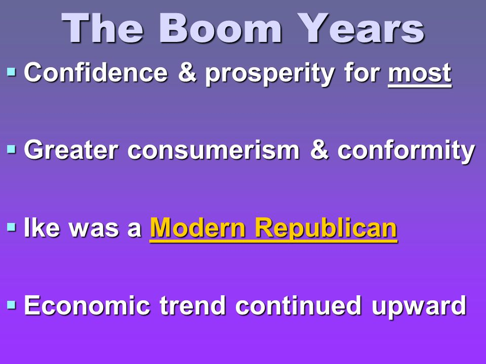 The Boom Years Confidence & prosperity for most Confidence & prosperity for most Greater consumerism & conformity Greater consumerism & conformity Ike