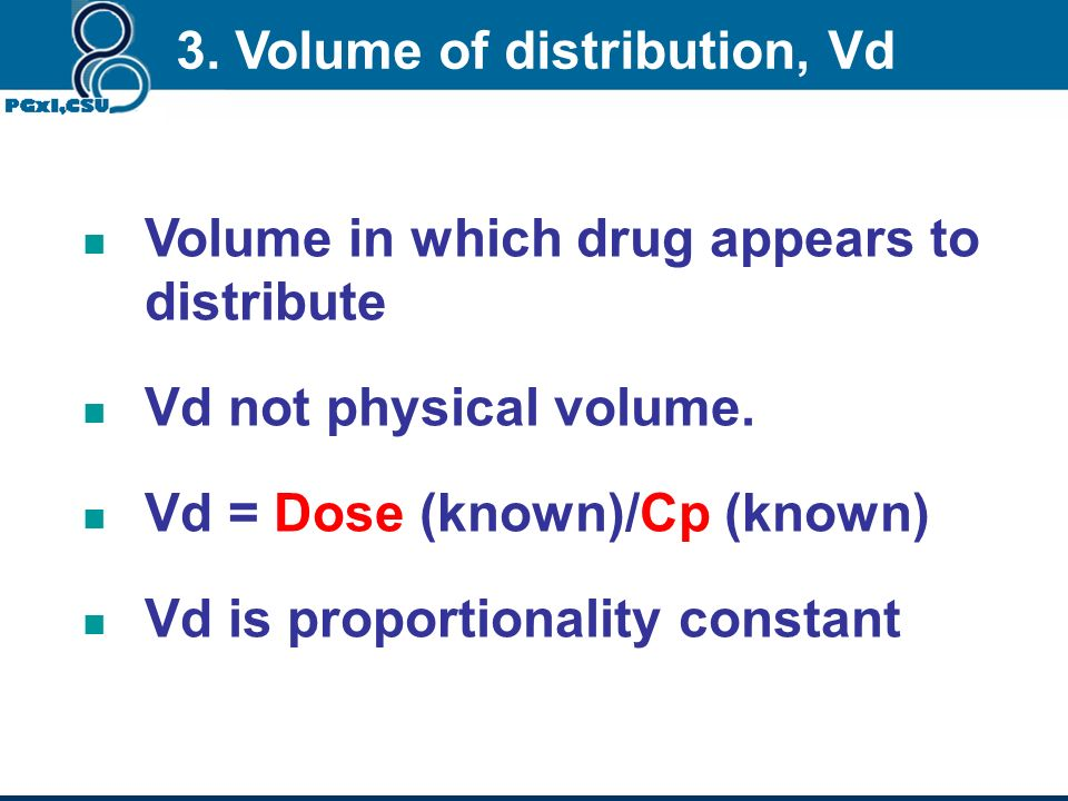 ( Volume of blood in a defined region of the body that is cleared of a drug in a unit time (mL/min). CL total = D/AUC CL total =CL renal CL liver CL o