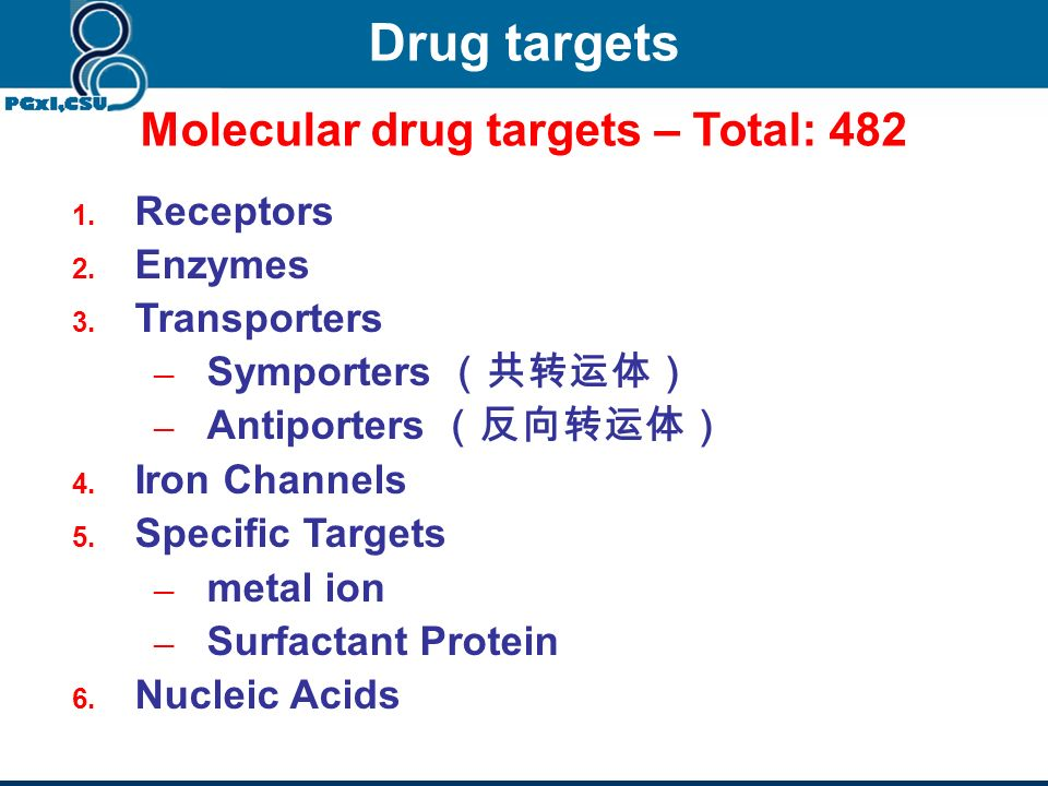 Four consequent levels of drug action 4. System alteration of system function (e.g. cardiovascular, pulmonary, digestive…) 1. Molecule (drug target):