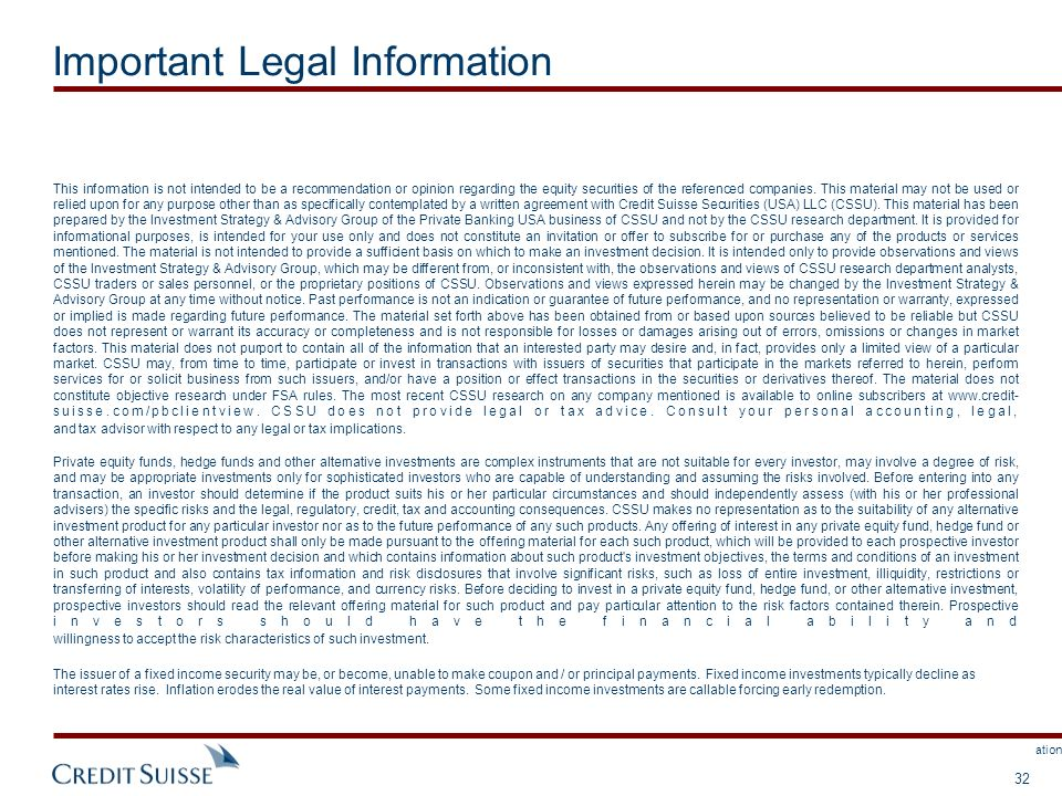 This document is not complete without attached Important Legal Information. 32 Important Legal Information This information is not intended to be a re