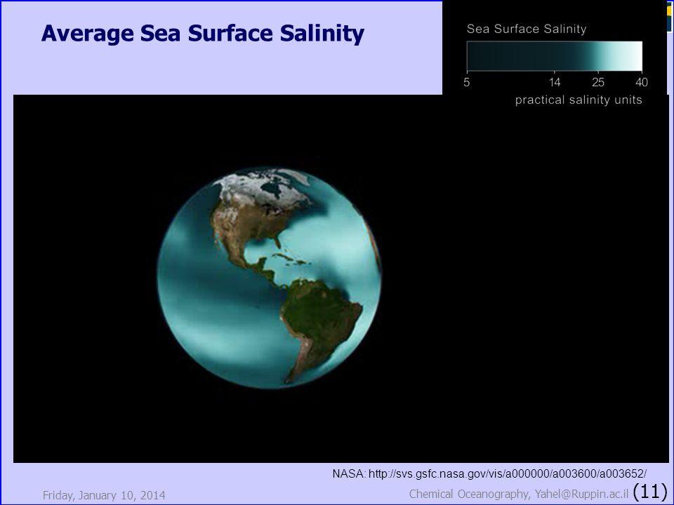 Average Sea Surface Salinity Friday, January 10, 2014 Chemical Oceanography, Yahel@Ruppin.ac.il (11) NASA: http://svs.gsfc.nasa.gov/vis/a000000/a00360