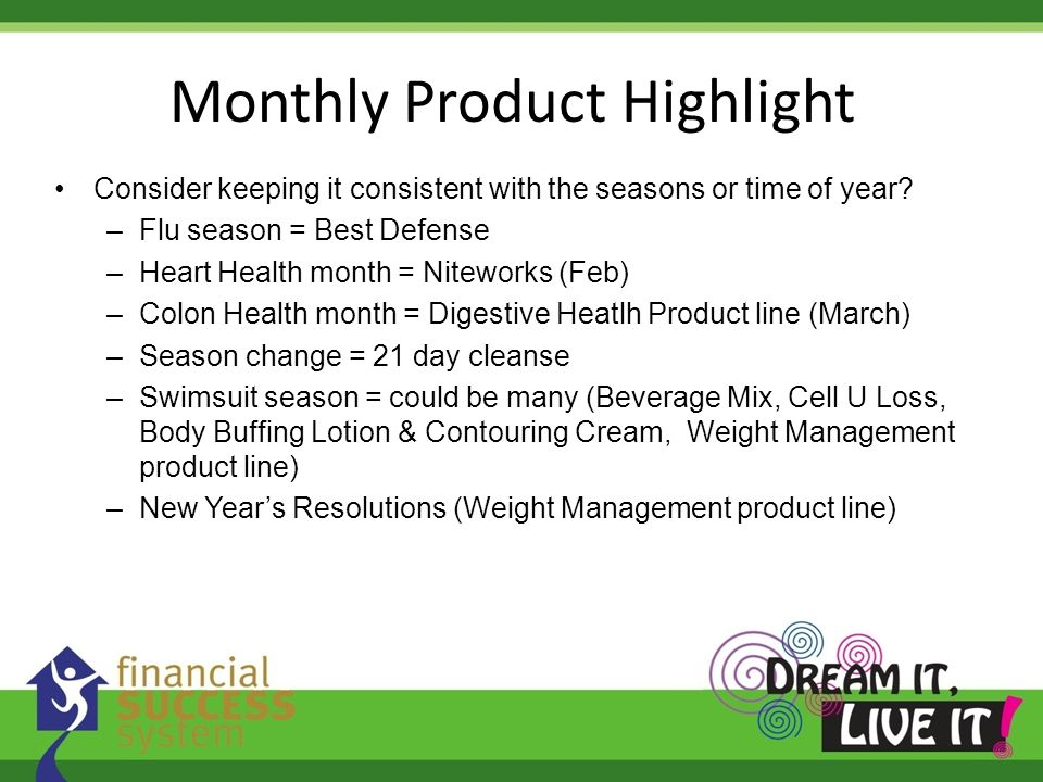 Monthly Product Highlight Consider keeping it consistent with the seasons or time of year? –Flu season = Best Defense –Heart Health month = Niteworks