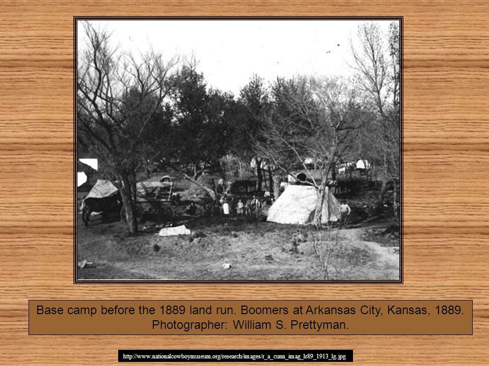 http://www.nationalcowboymuseum.org/research/images/r_a_cunn_imag_lr89_1913_lg.jpg Base camp before the 1889 land run. Boomers at Arkansas City, Kansa