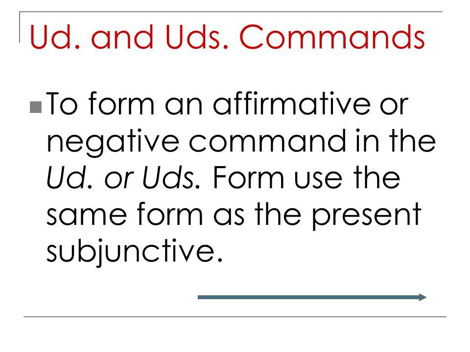 Ud. and Uds. Commands Español 3 Capítulo 10 página 343