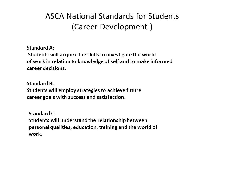 Standard A: Students will acquire the skills to investigate the world of work in relation to knowledge of self and to make informed career decisions.