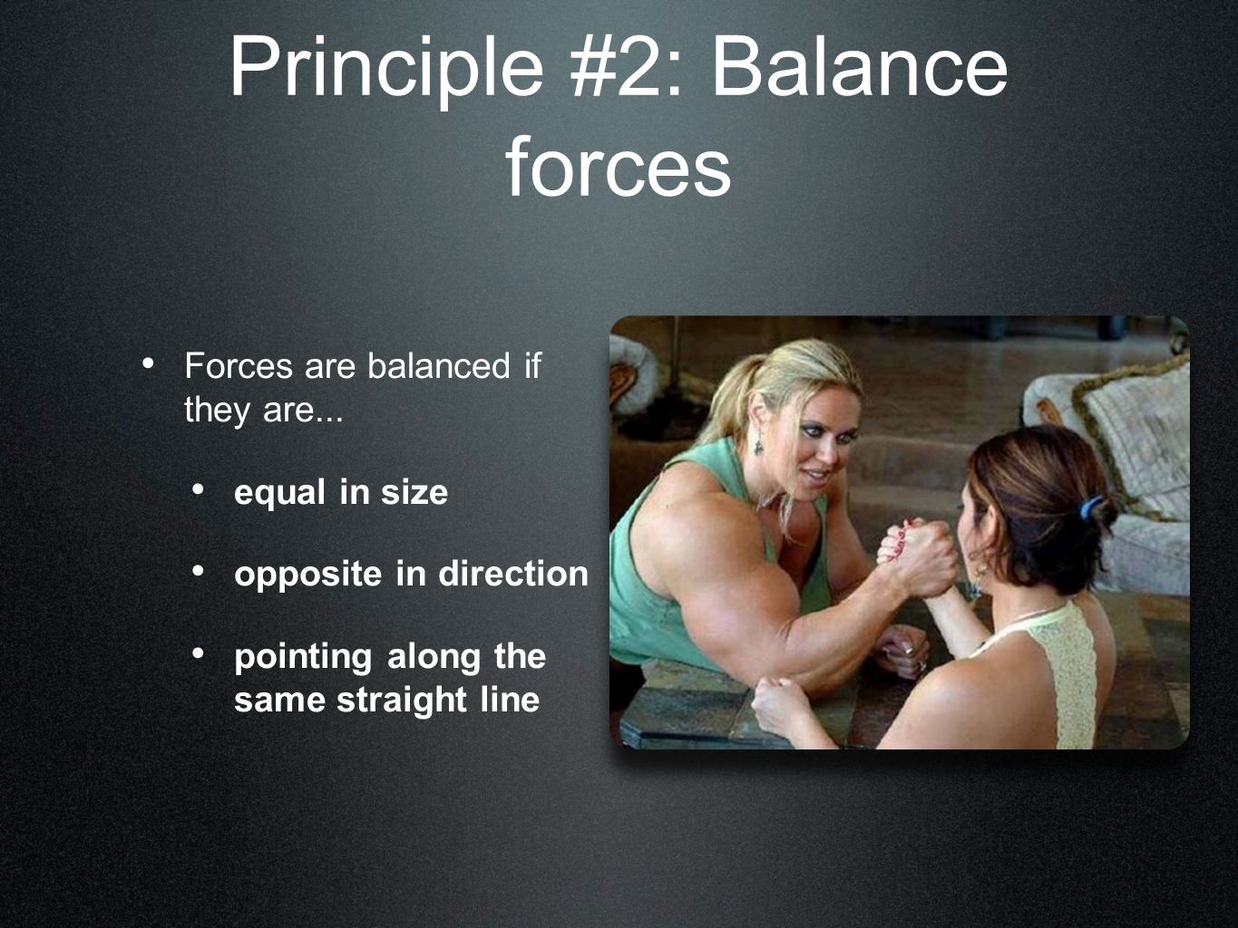 Balance Force: Counter Weights Mass that balances another mass Pulls in an opposite direction to a dangerous force Structure must withstand tension