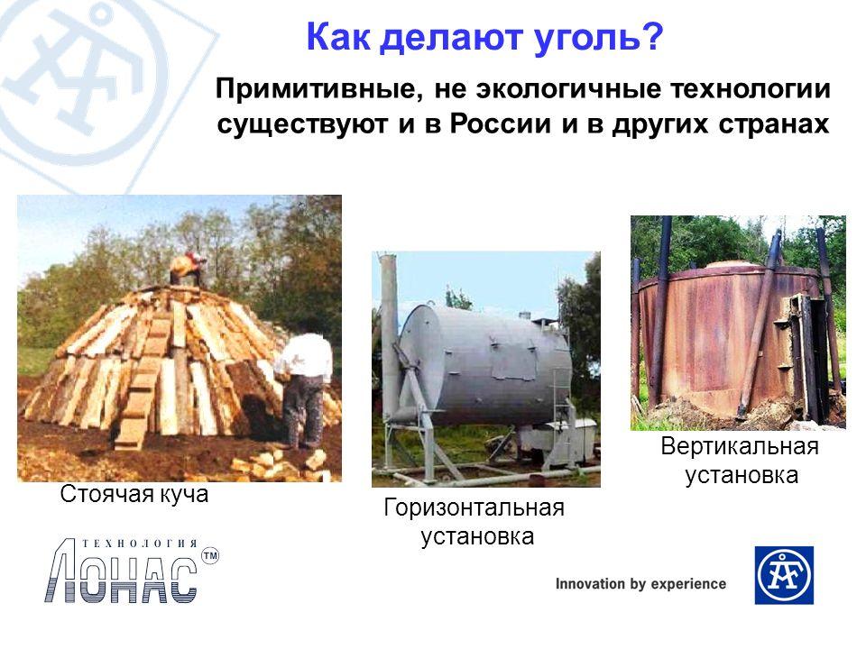 Как делают уголь? Примитивные, не экологичные технологии существуют и в России и в других странах Стоячая куча Горизонтальная установка Вертикальная у