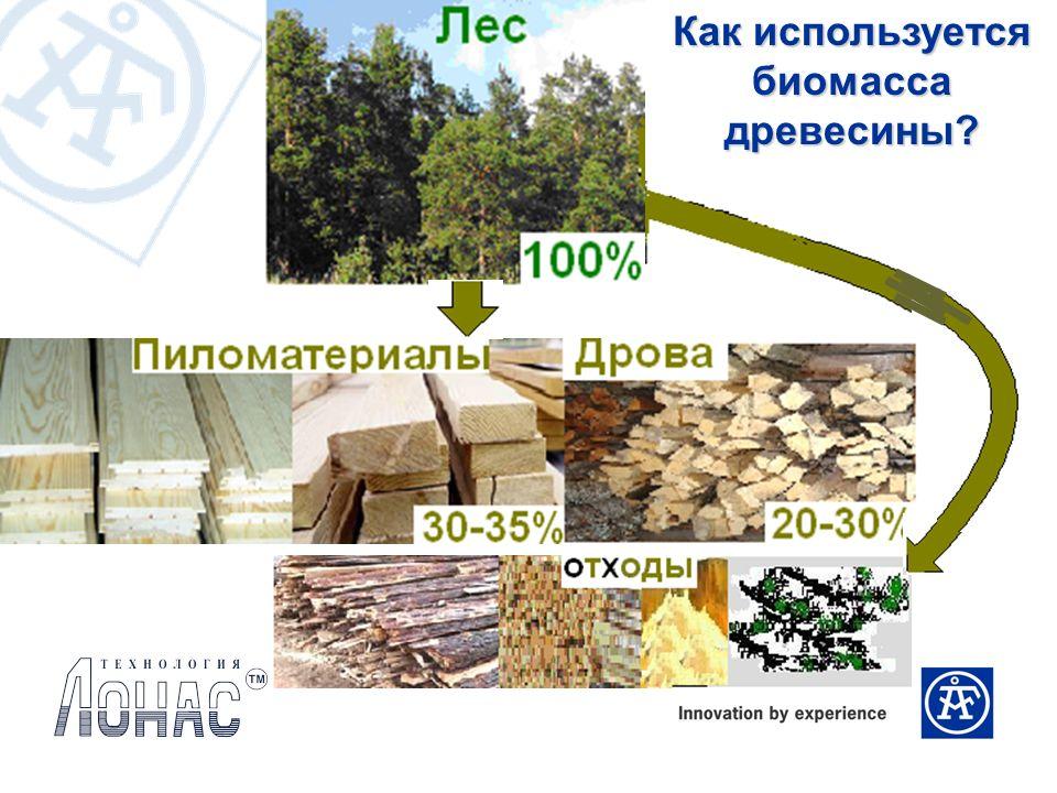 Как используется биомасса древесины?