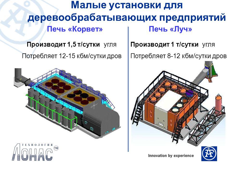 Малые установки для деревообрабатывающих предприятий Производит 1,5 т/сутки угля Потребляет 12-15 кбм/сутки дров Печь «Корвет»Печь «Луч» Производит 1
