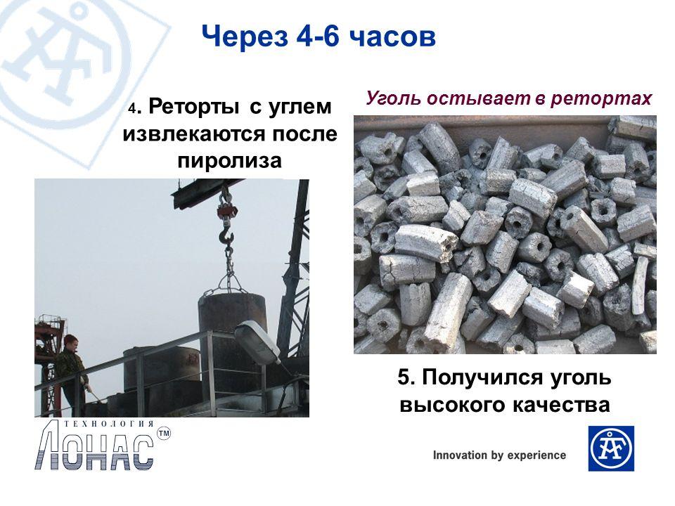 4. Реторты с углем извлекаются после пиролиза Уголь остывает в ретортах Через 4-6 часов 5. Получился уголь высокого качества