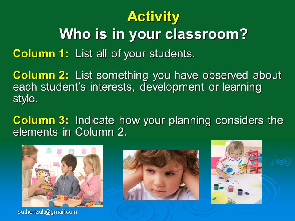 sutheriault@gmail.com Activity Who is in your classroom? Column 1: List all of your students. Column 2: List something you have observed about each st