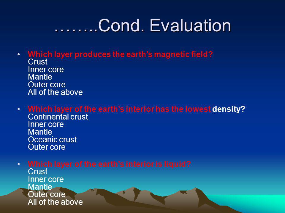 ……..Cond. Evaluation Which layer produces the earth's magnetic field? Crust Inner core Mantle Outer core All of the above Which layer of the earth's i
