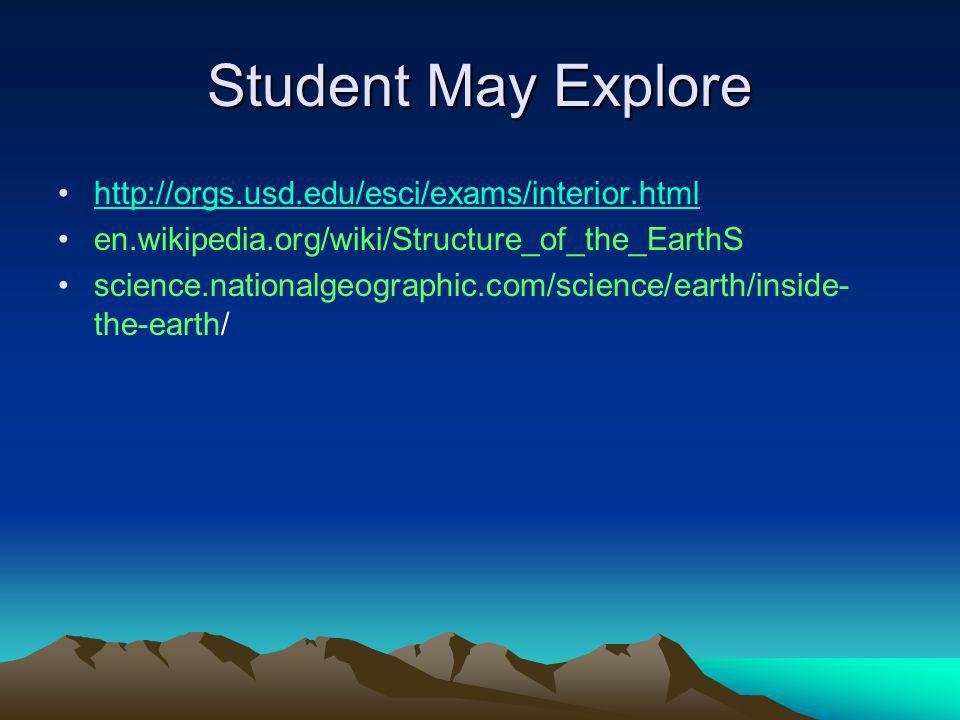 Student May Explore http://orgs.usd.edu/esci/exams/interior.html en.wikipedia.org/wiki/Structure_of_the_EarthS science.nationalgeographic.com/science/