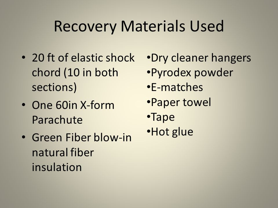 Recovery Materials Used 20 ft of elastic shock chord (10 in both sections) One 60in X-form Parachute Green Fiber blow-in natural fiber insulation Dry cleaner hangers Pyrodex powder E-matches Paper towel Tape Hot glue