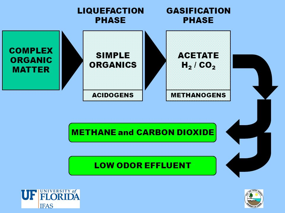 COMPLEX ORGANIC MATTER SIMPLE ORGANICS ACETATE H 2 / CO 2 METHANE and CARBON DIOXIDE LOW ODOR EFFLUENT LIQUEFACTION PHASE GASIFICATION PHASE ACIDOGENS