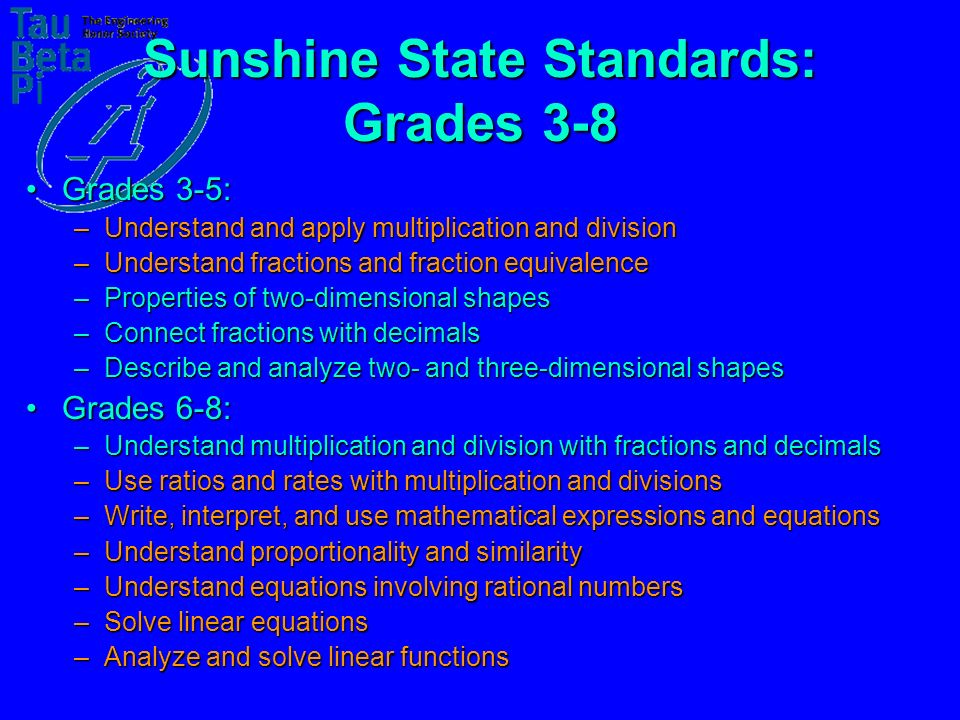 Sunshine State Standards: Grades 3-8 Grades 3-5:Grades 3-5: –Understand and apply multiplication and division –Understand fractions and fraction equivalence –Properties of two-dimensional shapes –Connect fractions with decimals –Describe and analyze two- and three-dimensional shapes Grades 6-8:Grades 6-8: –Understand multiplication and division with fractions and decimals –Use ratios and rates with multiplication and divisions –Write, interpret, and use mathematical expressions and equations –Understand proportionality and similarity –Understand equations involving rational numbers –Solve linear equations –Analyze and solve linear functions