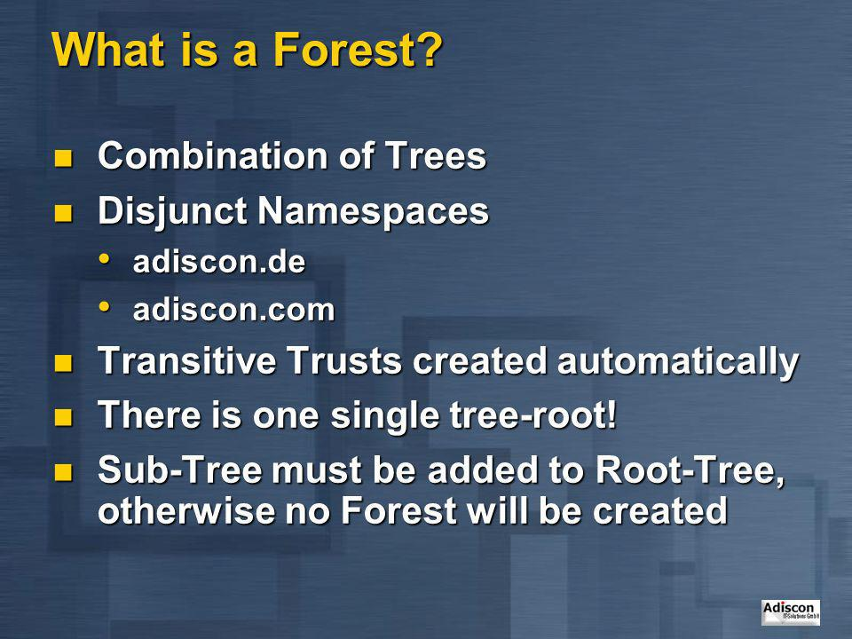 What is a Forest? Combination of Trees Combination of Trees Disjunct Namespaces Disjunct Namespaces adiscon.de adiscon.de adiscon.com adiscon.com Tran