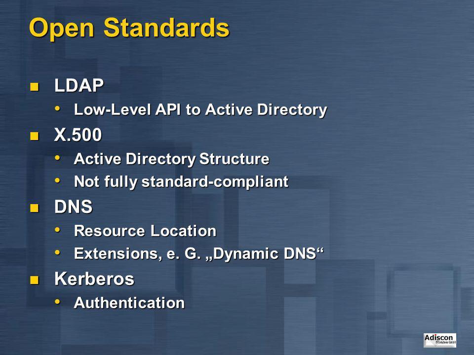Open Standards LDAP LDAP Low-Level API to Active Directory Low-Level API to Active Directory X.500 X.500 Active Directory Structure Active Directory S