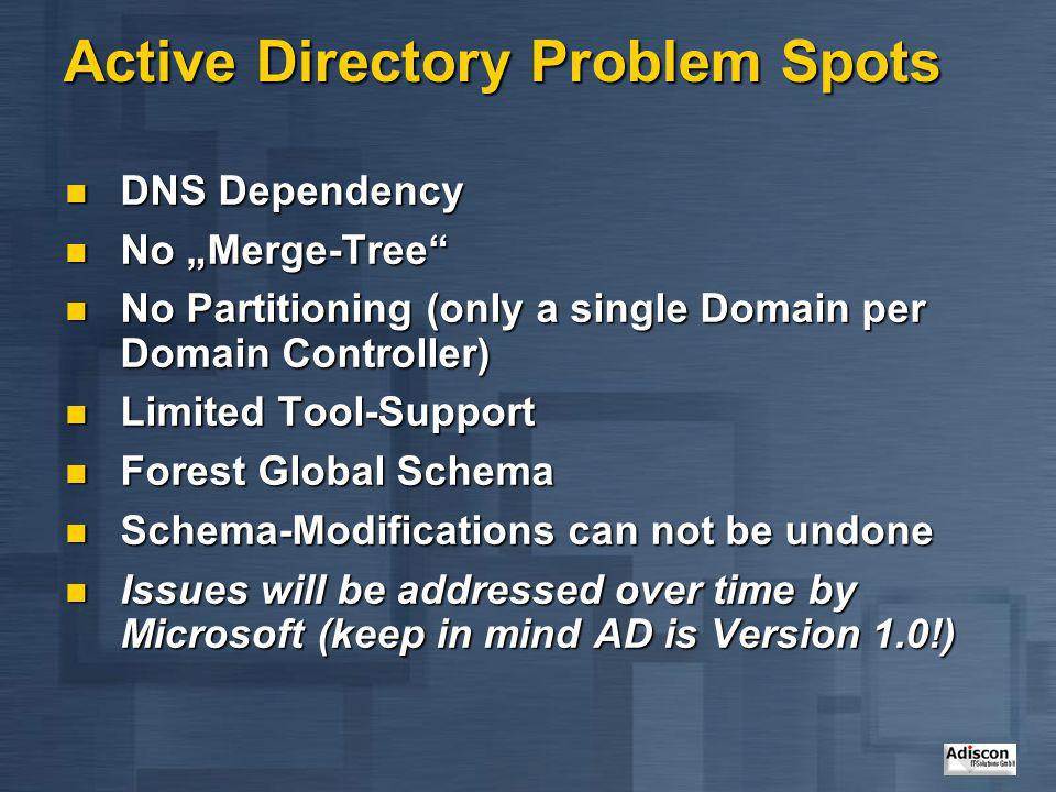 Active Directory Problem Spots DNS Dependency DNS Dependency No Merge-Tree No Merge-Tree No Partitioning (only a single Domain per Domain Controller)
