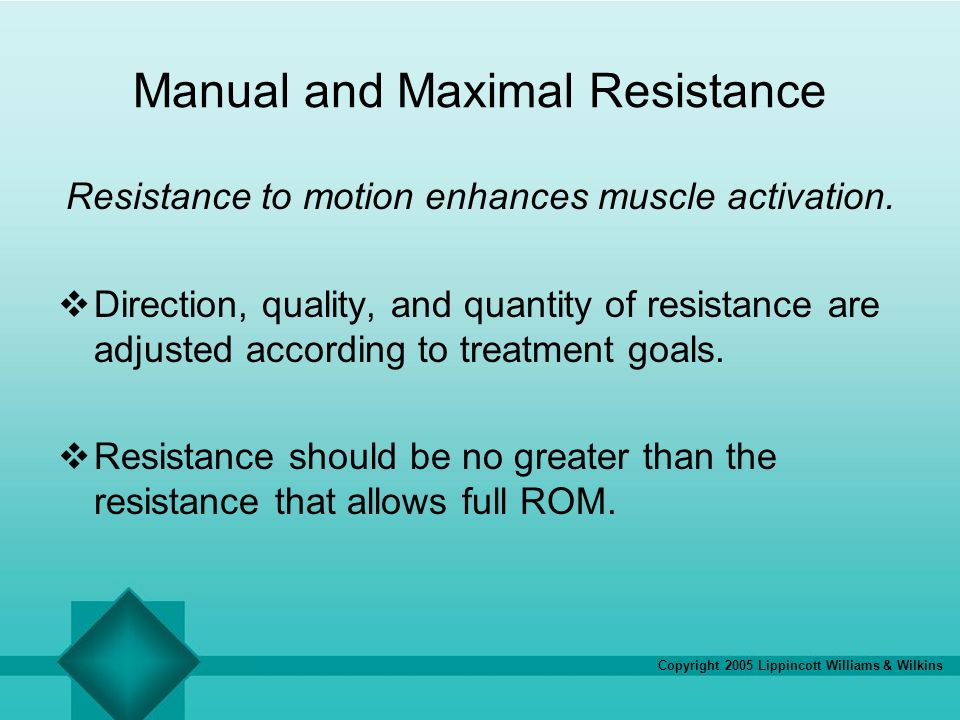 Copyright 2005 Lippincott Williams & Wilkins Manual and Maximal Resistance Resistance to motion enhances muscle activation. Direction, quality, and qu