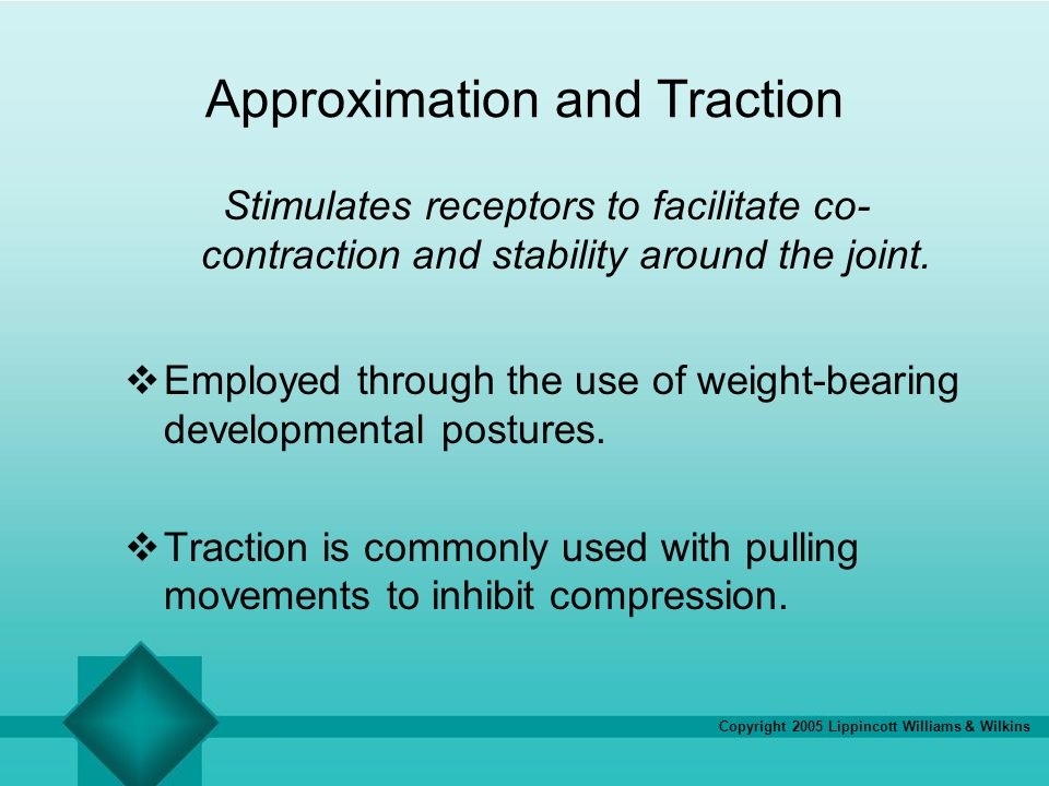 Copyright 2005 Lippincott Williams & Wilkins Approximation and Traction Stimulates receptors to facilitate co- contraction and stability around the jo