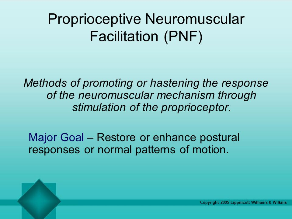 Copyright 2005 Lippincott Williams & Wilkins Proprioceptive Neuromuscular Facilitation (PNF) Methods of promoting or hastening the response of the neu