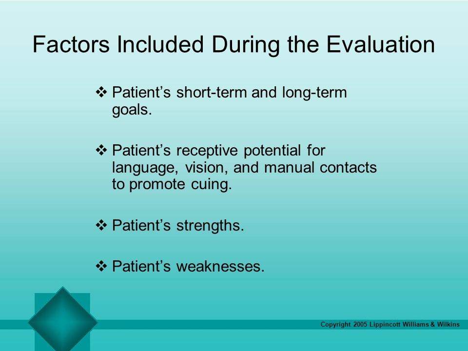 Copyright 2005 Lippincott Williams & Wilkins Factors Included During the Evaluation Patients short-term and long-term goals. Patients receptive potent