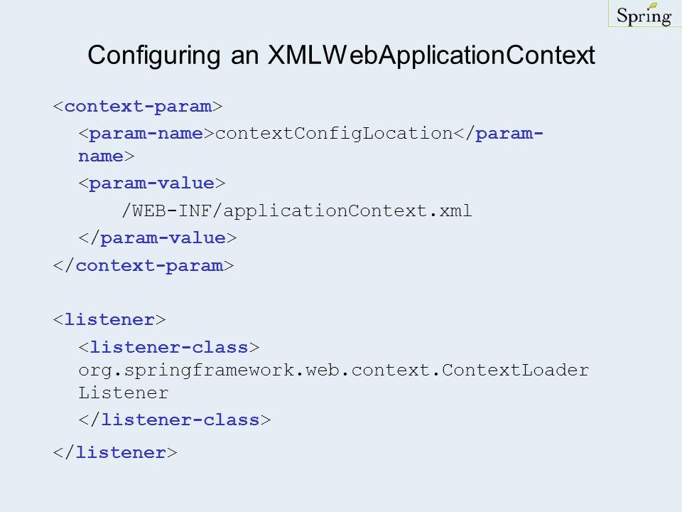 Configuring an XMLWebApplicationContext contextConfigLocation /WEB-INF/applicationContext.xml org.springframework.web.context.ContextLoader Listener