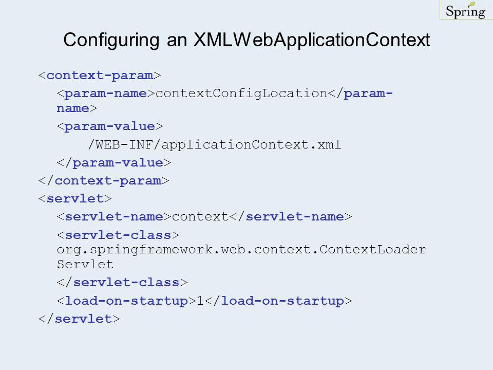 Configuring an XMLWebApplicationContext contextConfigLocation /WEB-INF/applicationContext.xml context org.springframework.web.context.ContextLoader Servlet 1