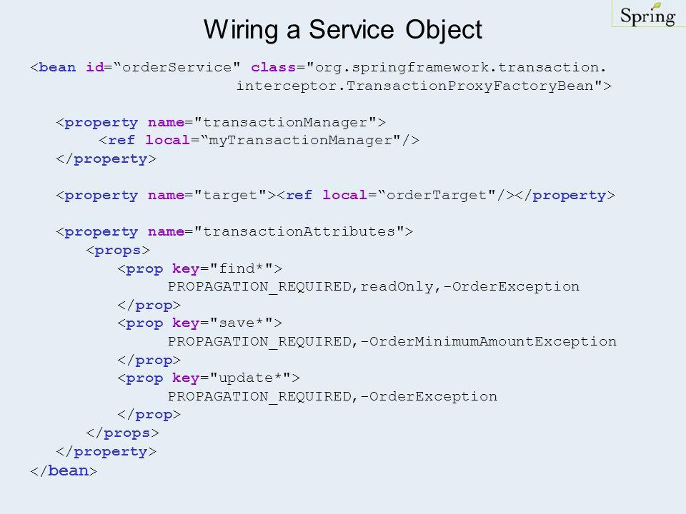 Wiring a Service Object <bean id=orderService class= org.springframework.transaction.