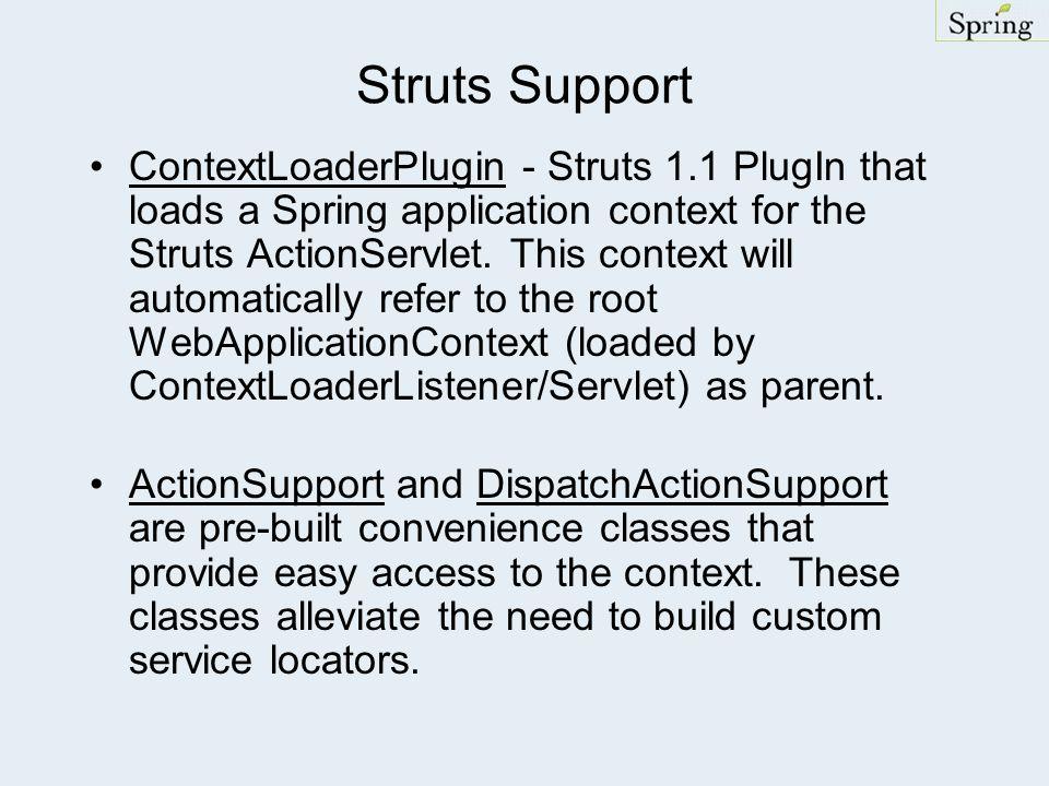 Struts Support ContextLoaderPlugin - Struts 1.1 PlugIn that loads a Spring application context for the Struts ActionServlet.