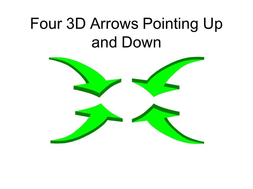 Four 3D Arrows Pointing Up and Down